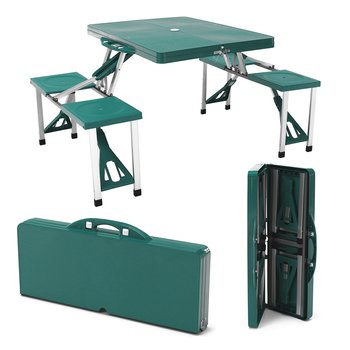 Kempingový skladací kufríkový set, 4-miestny, zelený, HORT