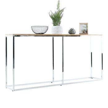 Konzolový stolík v industriálnom štýle, dub/chróm, KORNIS