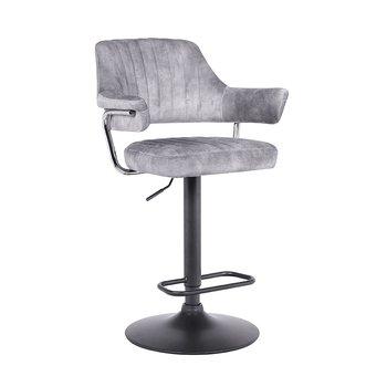 Barová stolička, sivá látka s efektom brúsenej kože, ACANTA