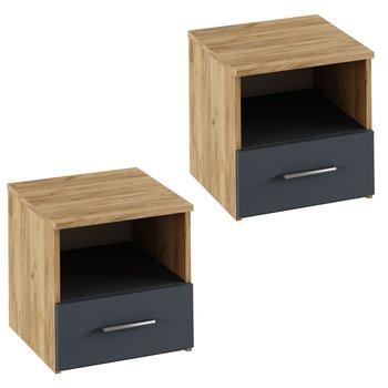 Nočný stolík, 2 ks, dub artisan/grafit, GABRIELA