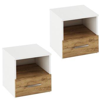 Nočný stolík, 2 ks, biela/dub artisan , GABRIELA