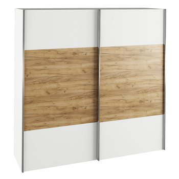 Skriňa s posúvacími dverami, biela/dub artisan, GABRIELA