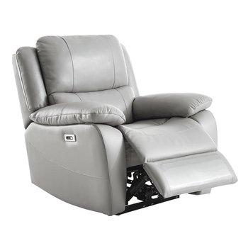 Elektrické relaxačné kreslo, koža/ekokoža sivá VIVAN