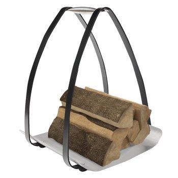 Kôš na drevo, čierna/strieborná, kované železo, TAMILO