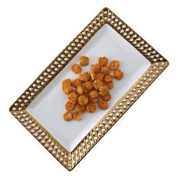 Servírovací tanier, biela/zlatá, keramika, SISSI