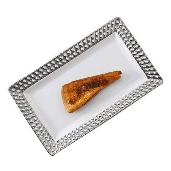 Servírovací tanier, biela/strieborná, keramika, VITALIS
