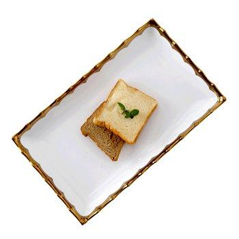 Servírovací tanier, biela/zlatá, keramika, BIANO
