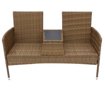 Záhradná lavica so stolíkom, hnedobéžová, LALIT TYP 2