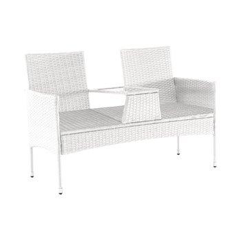 Záhradná lavica so stolíkom, biela, LALIT TYP 2