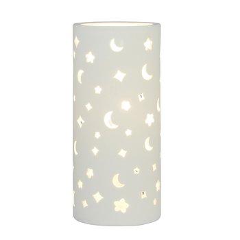 Keramická stolná lampa, biela/vzor mesiac a hviezdy, DANAR