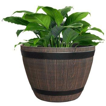Plastový kvetináč, hnedý, vzor drevo, MODAN TYP 1