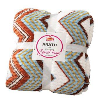 Obojstranná baránková deka, biela, farebný vzor, 200x220, ANATH