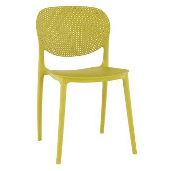 Stohovateľná stolička, žltá, FEDRA NEW