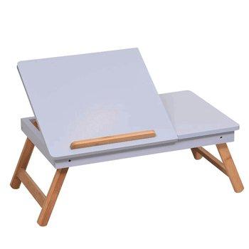 Príručný stolík na notebook/držiak na tablet, biela/prírodný bambus, MELTEN