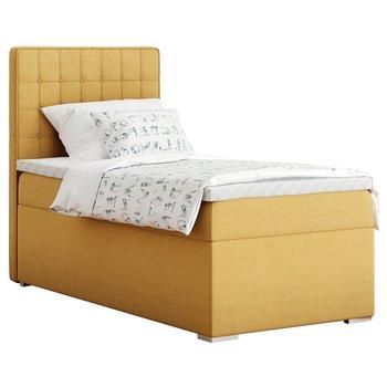 Boxspringová posteľ, jednolôžko, horčicová, 90x200, ľavá, TERY