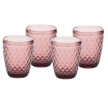Retro poháre na vodu, 4ks, 240ml, červená, VERITAS TYP 2