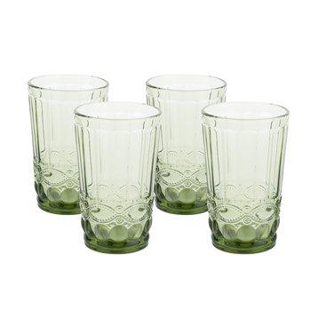 Vintage poháre na vodu, 4ks, 350ml, zelená, SAVOY TYP 1