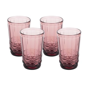 Vintage poháre na vodu, 4ks, 350ml, červená, SAVOY TYP 1