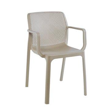 Stohovateľná stolička, sivohnedá taupe/plast, FRENIA