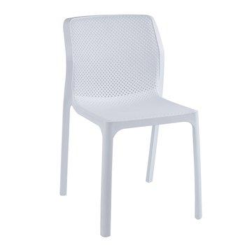 Stohovateľná stolička, biela/plast, LARKA