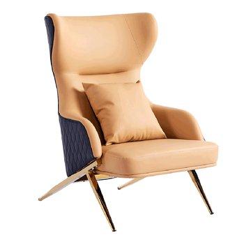Dizajnové luxusné kreslo, camel/čierna ekokoža, ARTES