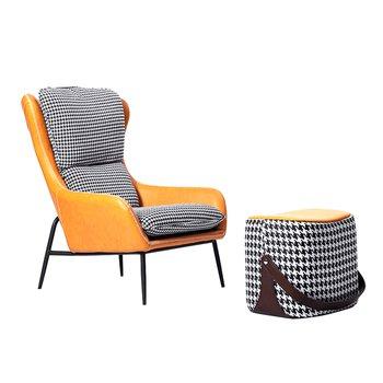 Luxusné kreslo s podnožou, látka čiernobiela vzor pepito/oranžová ekokoža, KALANTE