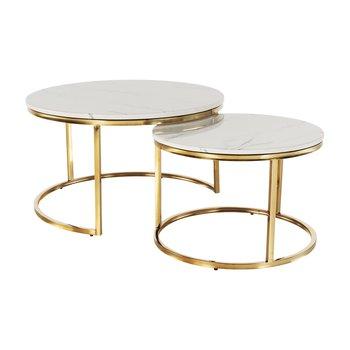 Konferenčné stolíky, set 2 ks, zlatá/imitácia mramoru, DEVNET