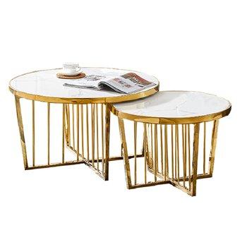 Konferenčné stolíky, set 2 ks, svetlý mramor/zlatý náter, EDLEN
