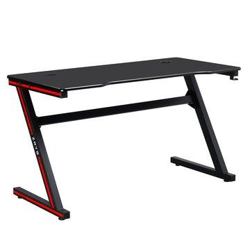 Herný stôl/počítačový stôl, čierna/červená, MACKENZIE 140cm