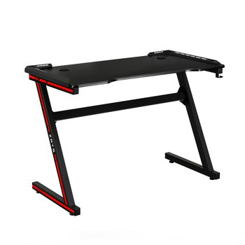 Herný stôl/počítačový stôl, s RGB LED osvetlením, čierna/červená, MACKENZIE 100cm