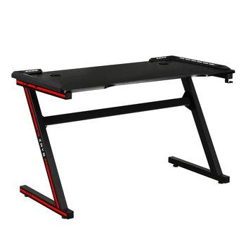 Herný stôl/počítačový stôl, s RGB LED osvetlením, čierna/červená, MACKENZIE 120cm