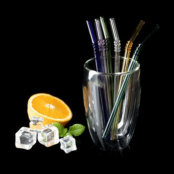 Sklenené slamky+kefka, set 6 ks, mix farieb, HOTCOLD TYP 19