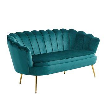 Luxusná pohovka, 3-sed, smaragdová Velvet látka/chróm zlatý, štýl Art-deco, NOBLIN