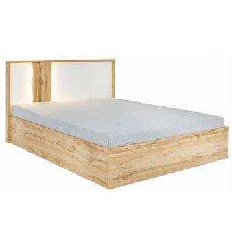 Posteľ s úložným priestorom, dub wotan/biela, 180x200, VODENA