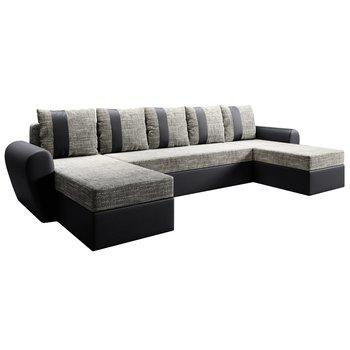 Univerzálna sedacia súprava, čierna/sivohnedá, LUNY ROH U