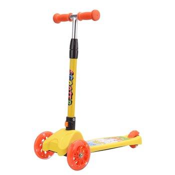 Detská kolobežka, LED kolieska, hliník/plast, žltá/oranžová, LAOMA