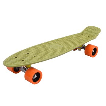 Skateboard, pennyboard, army zelená/oranžová, TESAL