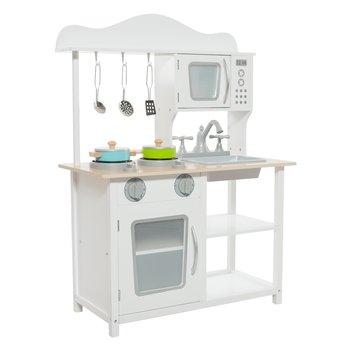 Detská drevená kuchynka, biela/prírodná, EMIEL