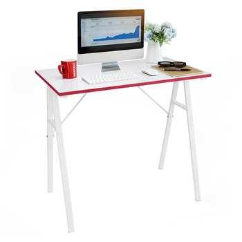 Počítačový stôl, biela/červená, RALDO