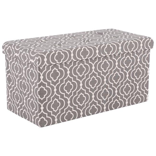 Skladací taburet, sivá/biely vzor, FARGO
