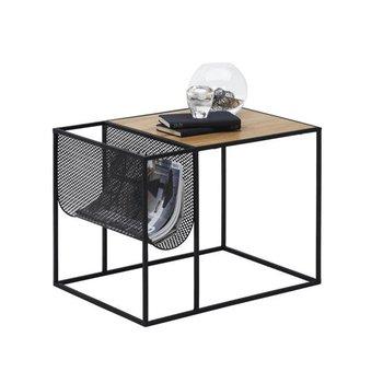 Príručný stolík, kov/MDF, čierna/dub, FLYN