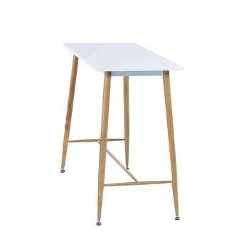 Barový stôl, biela/buk, DORTON