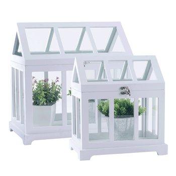 Mini skleníky, set 2 ks, biela, MAURI