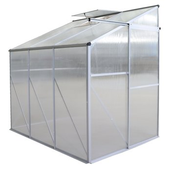 Záhradný skleník k stene, polykarbonát, 122x191x199 cm, MABON TYP 1