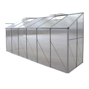 Záhradný skleník k stene, polykarbonát, 122x374x199 cm, MABON TYP 4
