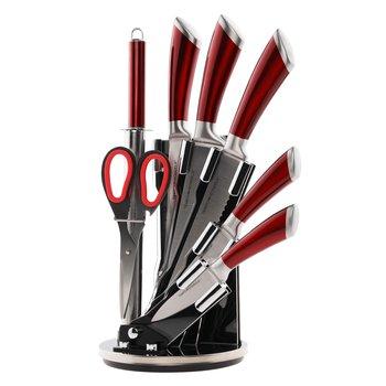 Sada nožov v stojane, 8 ks, červená, JAVED