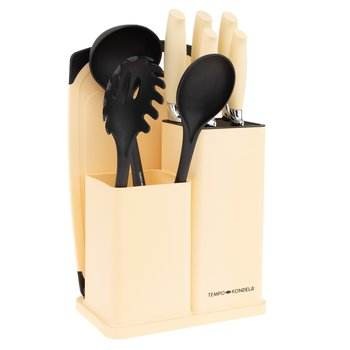 Sada nožov a kuchynského náradia, 10 ks, v stojane, vanilková, KAHON