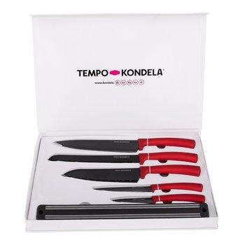 Sada nožov s magnetickým držiakom, 6 ks, červená, LONAN