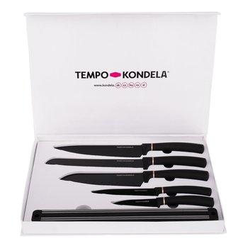 Sada nožov s magnetickým držiakom, 6 ks, čierna, LONAN