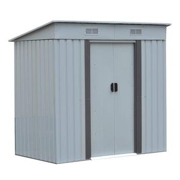 Plechový záhradný domček na náradie, biela/sivá, 1,9x1,2 m, TEDOK